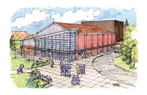 drawing of aerial entrance view of PAC